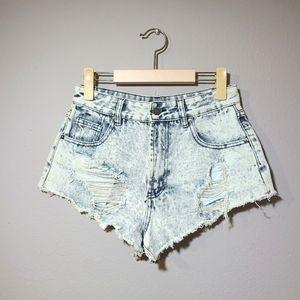 Forever 21 Distressed High Waist Denim Shorts